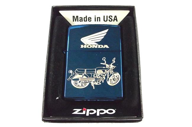 Hop quet Zippo xanh saphire dat vang hinh Honda ntz398