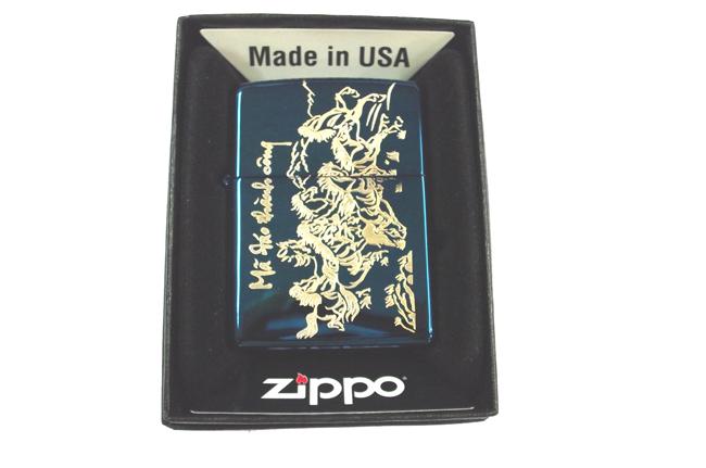 Zippo xanh saphire dat vang hinh Ma dao thanh cong ntz388