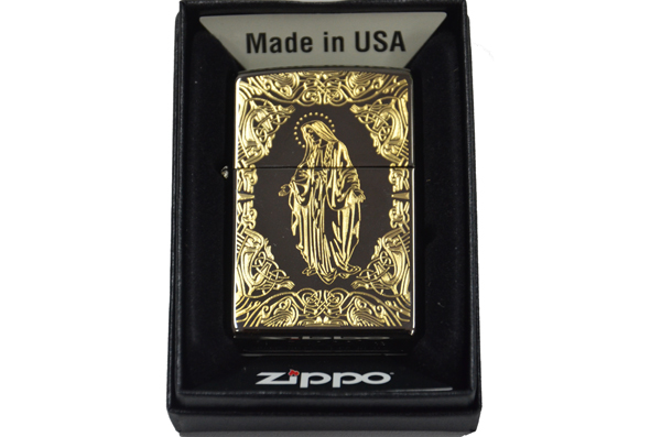 Zippo black ice dat vang 24k hinh duc me ntz702
