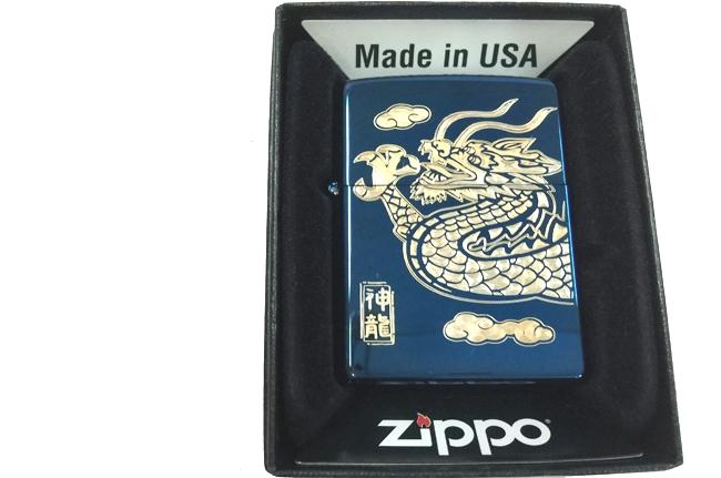 Hop quet Zippo xanh saphire dat vang hinh rong ntz896