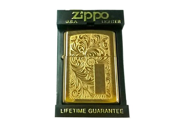 Zippo solid brass khac hoa van Venetian dong vang doi VIII (1992) ntz227