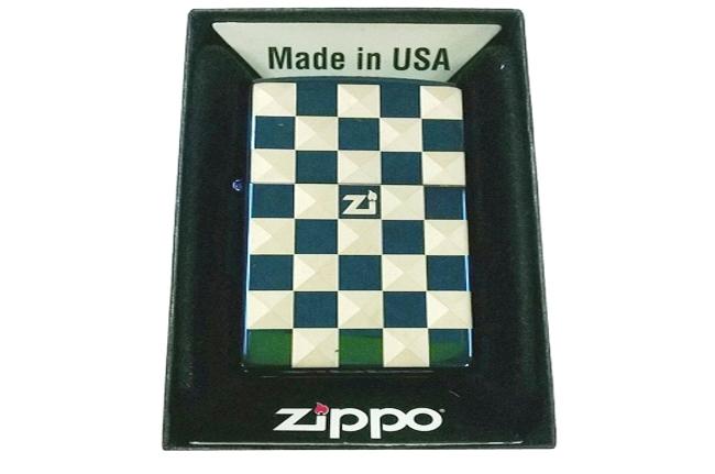 Hop quet Zippo xanh saphire 3D hinh caro zippo ntz009