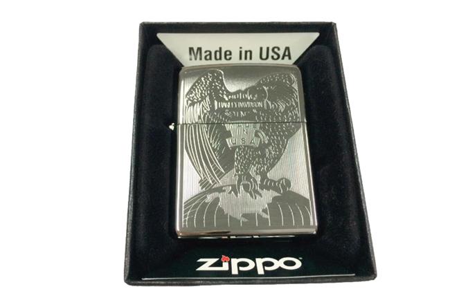 Zippo khac lazer 1 mat hinh Harley Davidson ntz450