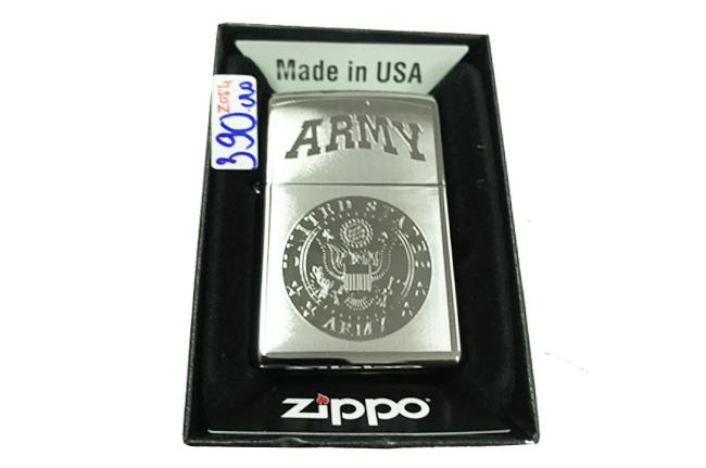 Zippo khac lazer 2 mat hinh ARMY ntz495