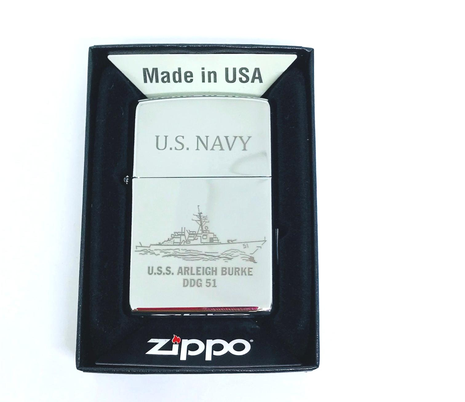 Hop quet zippo bong trang khac laze U.S.NAVY Z604