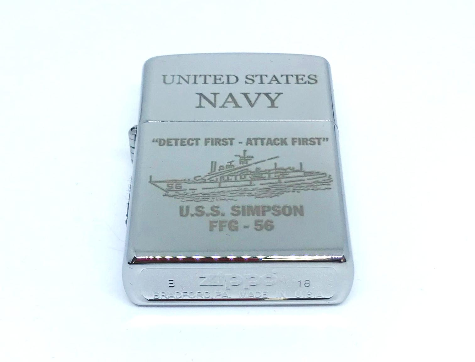 Hop quet zippo bong trang khac laze UNITED STATES NAVY Z605 2
