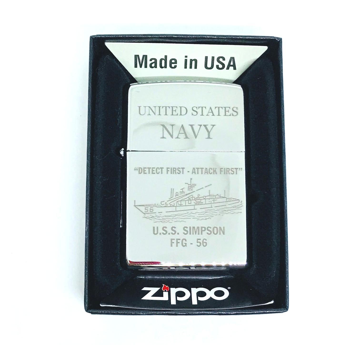 Hop quet zippo bong trang khac laze UNITED STATES NAVY Z605