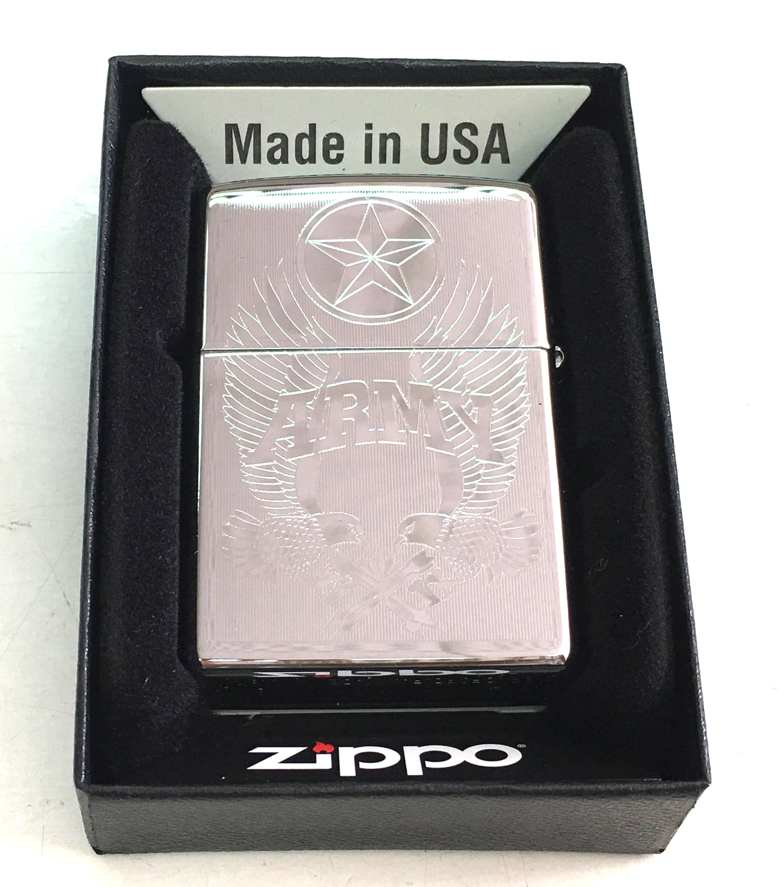 Zippo trang bong suot khac 2 mat hinh dai bang ARMY Z670