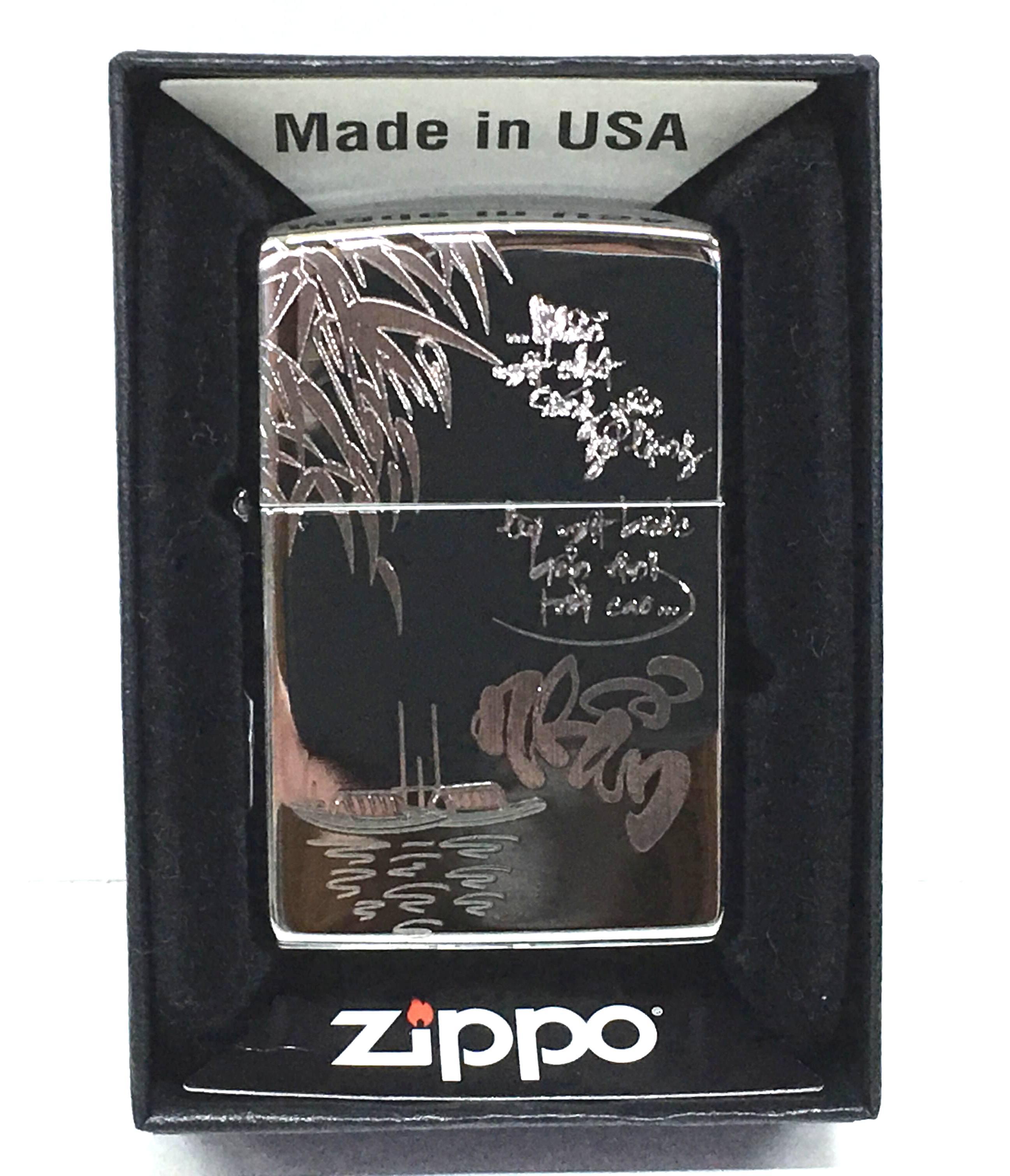 Zippo bong trang khac sieu sau 1 mat chu Nhan Z722  2