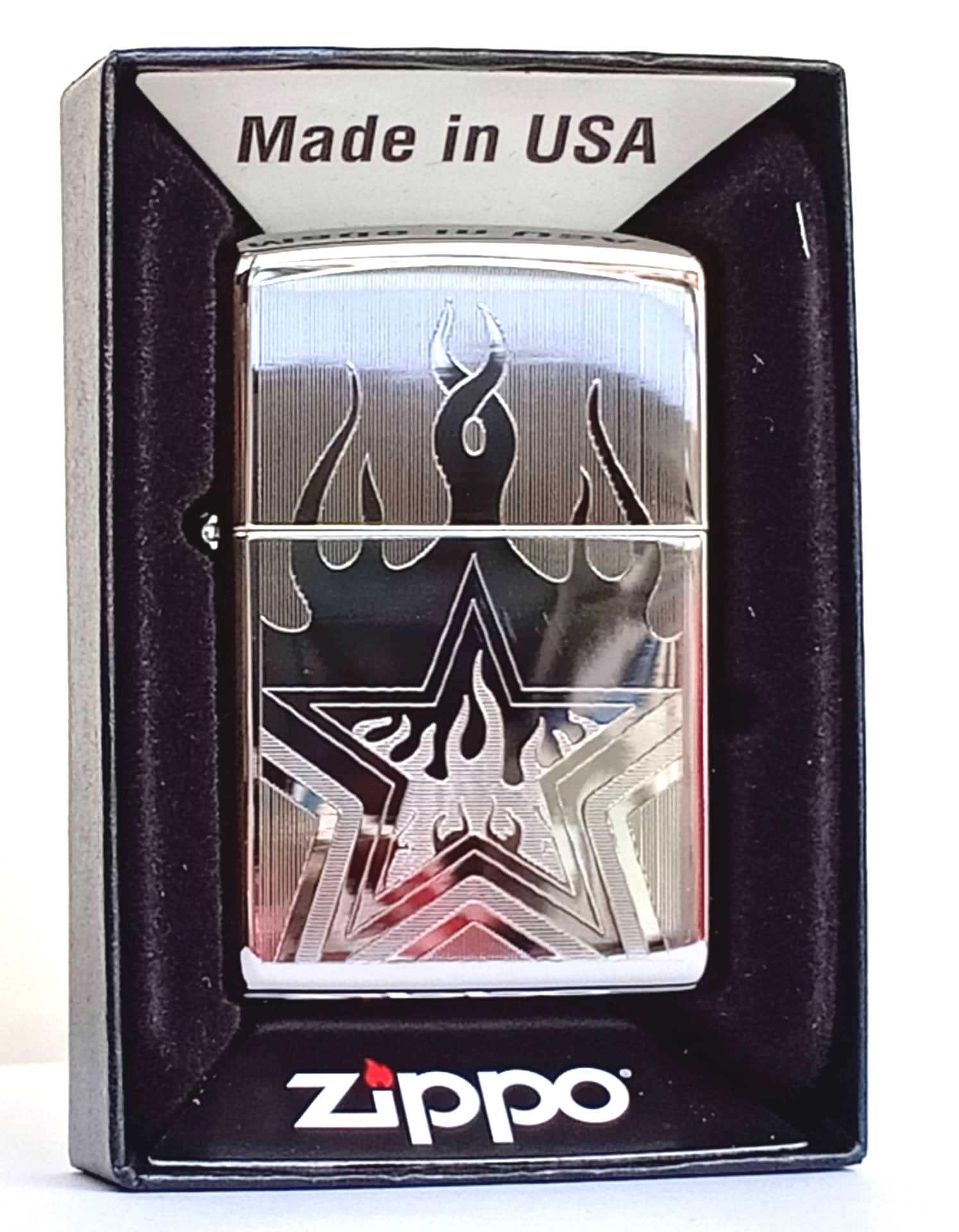 Zippo bong trang khac 1 mat hinh ngoi sao Z801