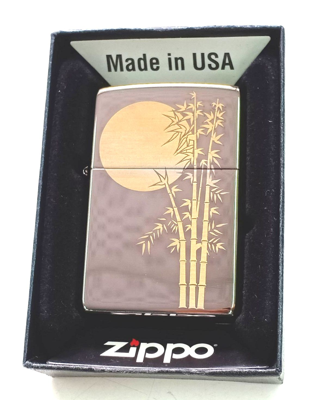 Zippo black ice khac laser cay truc anh trang Z664